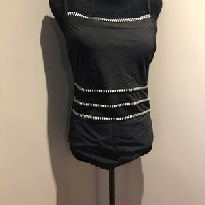 Black swimsuit with mesh cut outs
